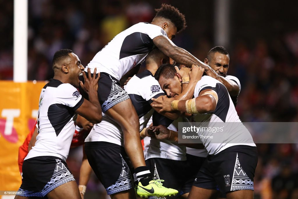 Daniel Saifiti of Fiji celebrates with team mates after scoring a try during the 2017 Pacific Test Invitational match between Tonga and Fiji at Campbelltown Sports Stadium on May 6, 2017 in Sydney, Australia.