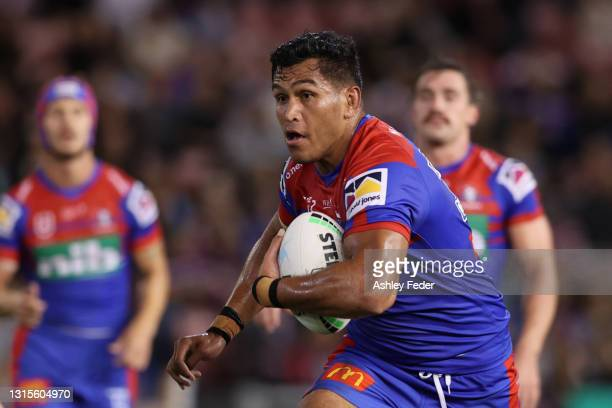 Daniel Saifiti of the Knights in action during the round eight NRL match between the Newcastle Knights and the Sydney Roosters at McDonald Jones...
