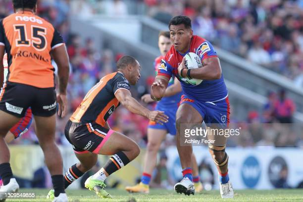 Daniel Saifiti of the Knights in action during the round three NRL match between the Newcastle Knights and the Wests Tigers at McDonald Jones Stadium...