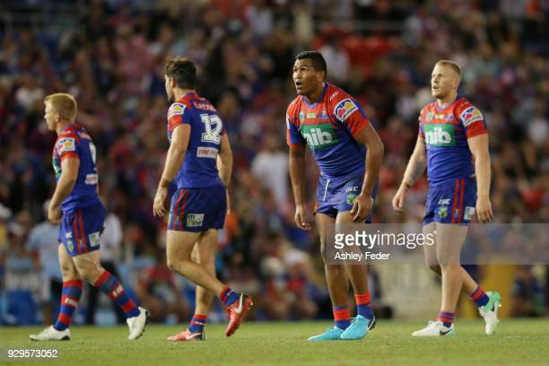 Daniel Saifiti of the Knights reacts to a missed field goal during golden point during the round one NRL match between the Newcastle Knights and the...