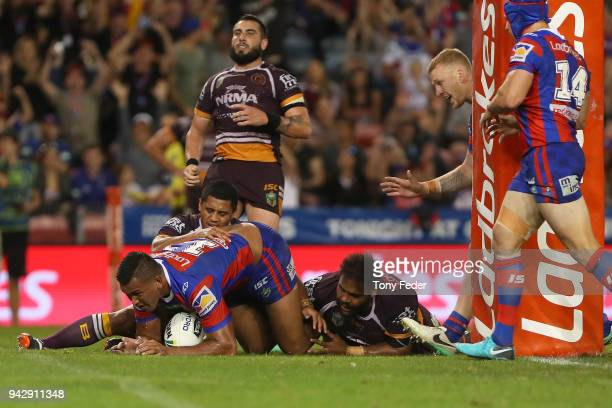 Daniel Saifiti of the Knights scores a try during the round five NRL match between the Newcastle Knights and the Brisbane Broncos at McDonald Jones...