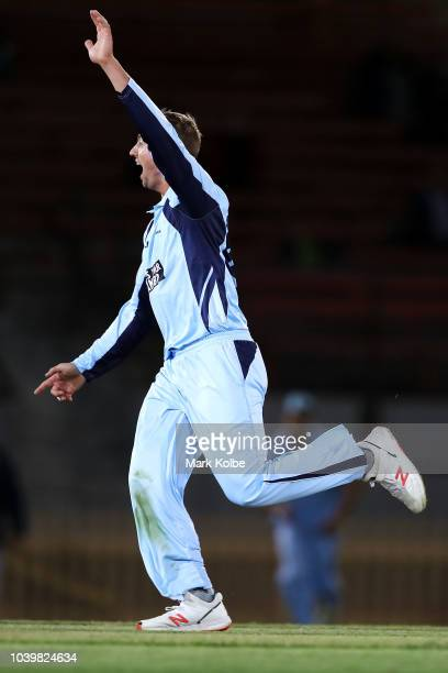 Daniel Sams of the NSW Blues celebrates taking the wicket of Jordan Silk of the Tigers during the JLT One Day Cup match between New South Wales and...