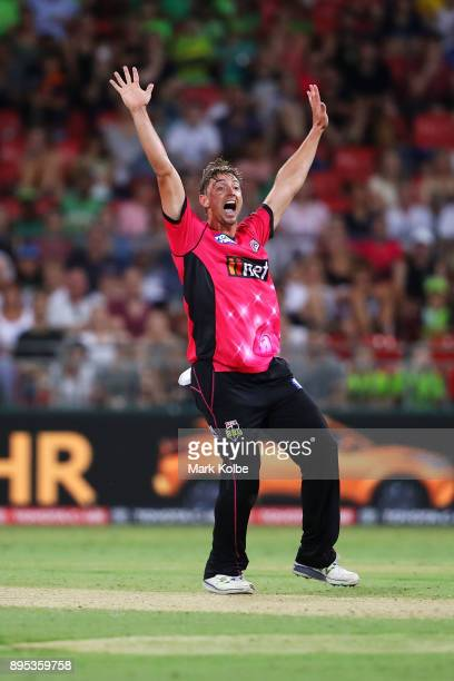 Daniel Sams of the Sixers appeals unsuccessfully for the wickey of Aiden Blizzard of the Thunder during the Big Bash League match between the Sydney...