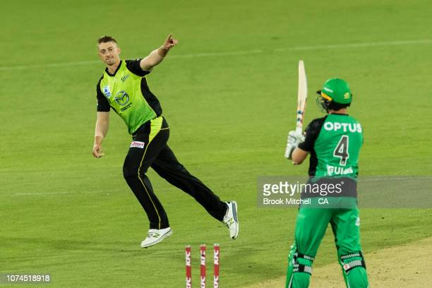 Daniel Sams of the Thunder celebrates taking the wicket of Evan Gulbis of the Stars during the Sydney Thunder v Melbourne Stars Big Bash League Match...