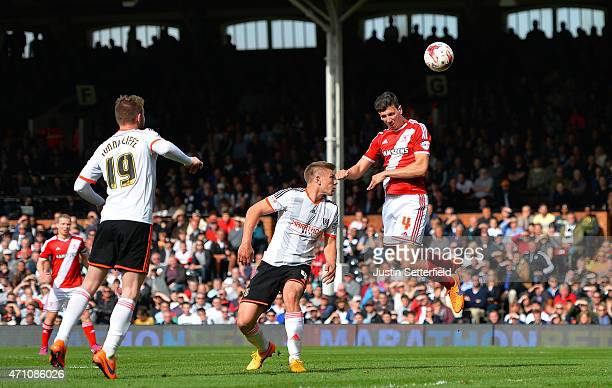 Daniel Sanchez Ayala of Middlesbrough FC scores Middlesbrough's 2nd goal during the Sky Bet Championship match between Fulham and Middlesbrough at...