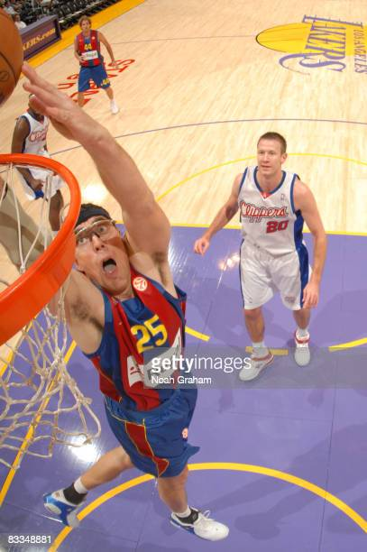 Daniel Santiago of Regal FC Barcelona goes up for a dunk during the game against the Los Angeles Clippers at Staples Center on October 19 2008 in Los...