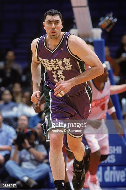 Daniel Santiago of the Milwaukee Bucks runs the court during the NBA game against the Los Angeles Clippers at Staples Center on December 17 2003 in...