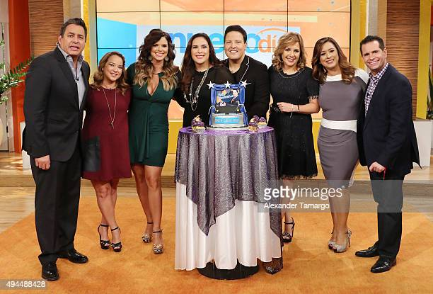 Daniel Sarcos Adamari Lopez Rashel Diaz Angelica Vale Raul Gonzalez Ana Maria Canseco Neida Sandoval and Diego Schoening are seen on the set of Un...