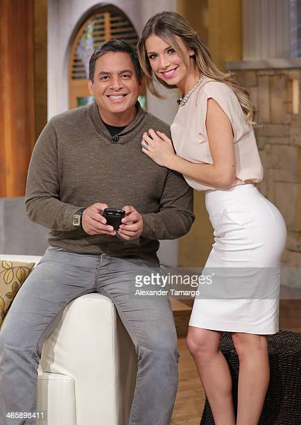 Daniel Sarcos and Alessandra Villegas are seen on the set of Telemundo's 'Un Nuevo Dia' to promote the movie 'Pompeii' at Telemundo Studio on January...
