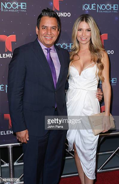 Daniel Sarcos and Alessandra Villegas attend Telemundo 'Que Noche With Angelica And Raul' on October 29 2015 in Miami Florida
