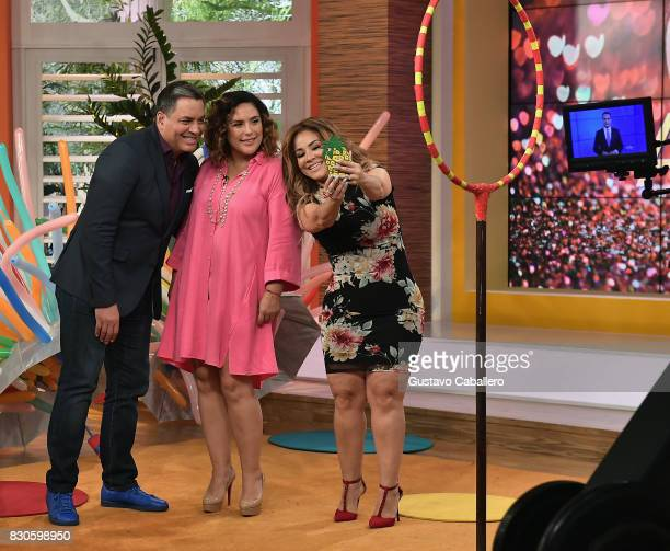 Daniel Sarcos and Carolina Sandoval attends the Un Nuevo Dia Celebrates Angelica Vale's Son's Birthday at Telemundo Studio on August 11 2017 in Miami...