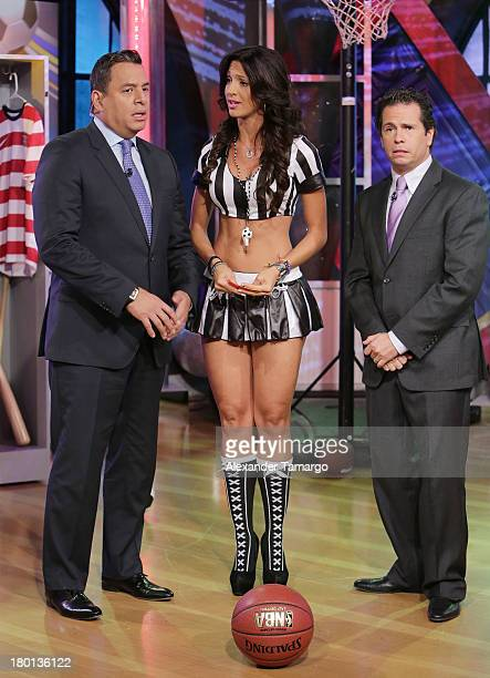 Daniel Sarcos Erika Csiszer and Diego Schoening are seen on the set of Telemundo's Un Nuevo Dia at Telemundo Studio on September 9 2013 in Miami...