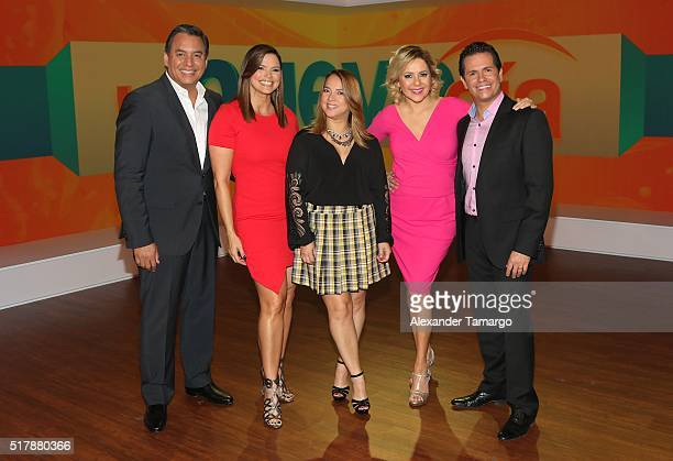 Daniel Sarcos Rashel Diaz Adamari Lopez Ana Maria Canseco and Diego Schoening are seen during the unveiling of the new set of 'Un Nuevo Dia' at...
