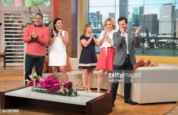 Daniel Sarcos Rashel Diaz Adamari Lopez Ana Maria Canseco and Diego Schoening are seen on the set of Telemundo's 'Un Nuevo Dia' on March 2 2017 in...