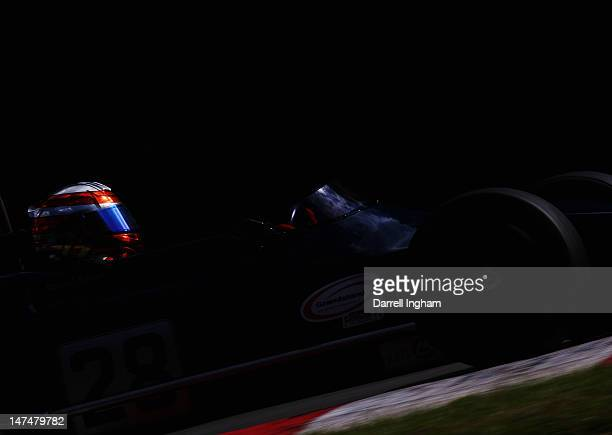 Daniel Sauer of Switzerland drives the March 712 during practice for the HSCC Historic Superprix Formula 2 race at the Brands Hatch Circuit on June...