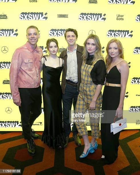 Daniel Savage Kaitlyn Dever Thomas Mann Alice Englert and Britt Poulton attend the premiere of Them That Follow at the Alamo Drafthouse South Lamar...