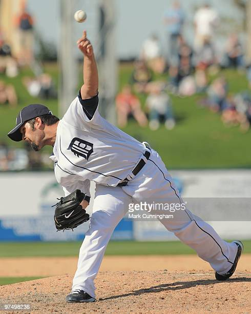 Daniel Schlereth of the Detroit Tigers pitches against the Baltimore Orioles during a spring training game at Joker Marchant Stadium on March 6 2010...