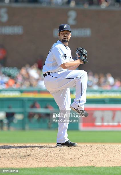 Daniel Schlereth of the Detroit Tigers pitches against the Cleveland Indians at Comerica Park on August 21 2011 in Detroit Michigan The Tigers...