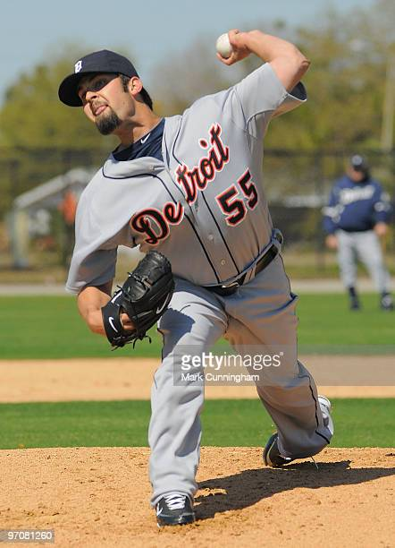 Daniel Schlereth of the Detroit Tigers pitches during spring training workouts on February 25 2010 at the TigerTown Facility in Lakeland Florida