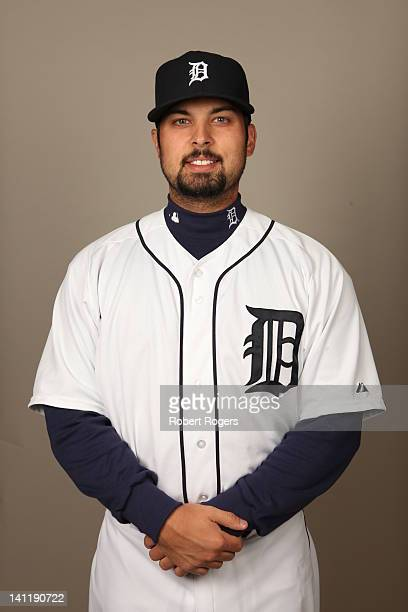 Daniel Schlereth of the Detroit Tigers poses during Photo Day on Tuesday February 28 2012 at Joker Marchant Stadium in Lakeland Florida