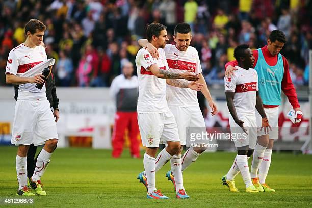 Daniel Schwaab Martin Harnik Vedad Ibisevic Arthur Boka and Rani Khedira of Stuttgart react after the Bundesliga match between VfB Stuttgart and...