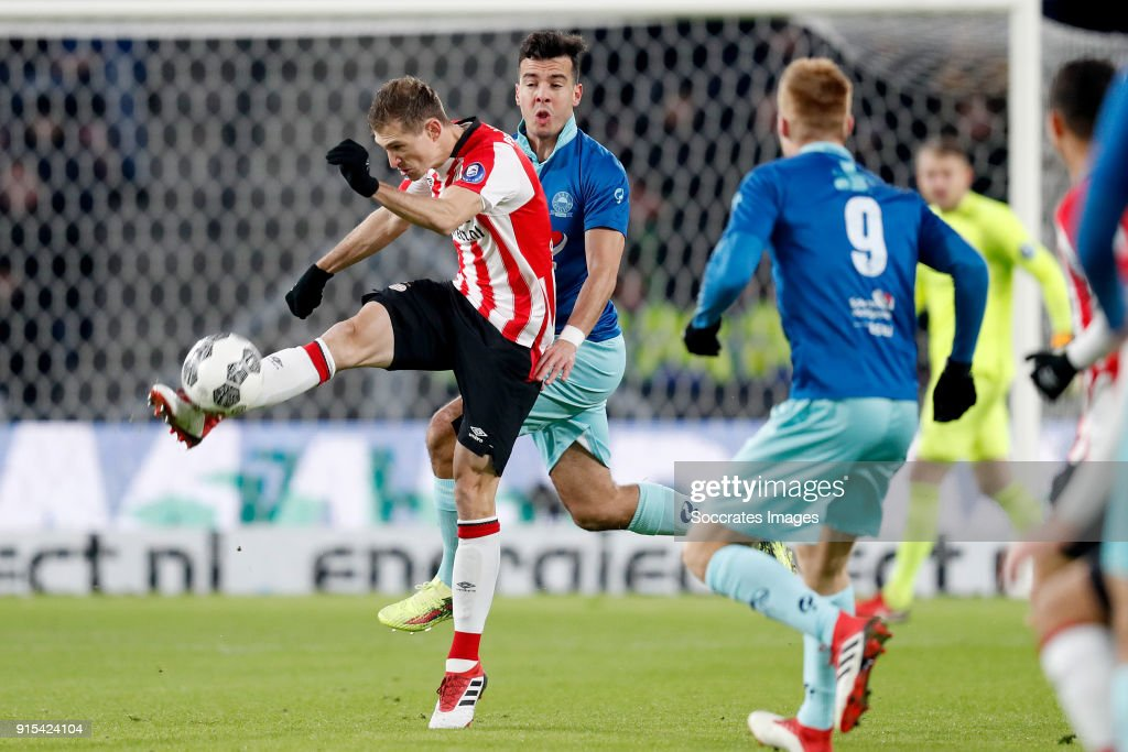 Daniel Schwaab of PSV, Ali Messaoud of Excelsior during the Dutch Eredivisie match between PSV v Excelsior at the Philips Stadium on February 7, 2018 in Eindhoven Netherlands