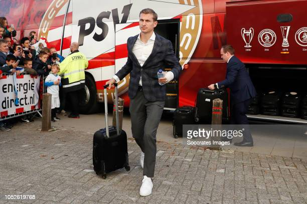 Daniel Schwaab of PSV arrives with the players bus during the Dutch Eredivisie match between PSV v FC Emmen at the Philips Stadium on October 20 2018...