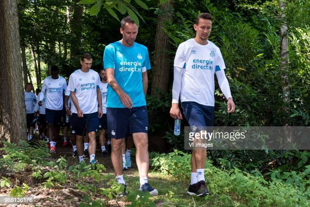Daniel Schwaab of PSV assistent trainer Andre Ooijer of PSV Luuk de Jong of PSV during a trainings session of PSV Eindhoven at the Herdgang on June...