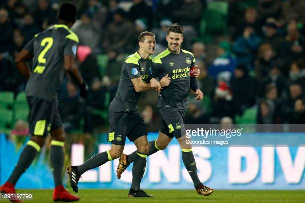 Daniel Schwaab of PSV Marco van Ginkel of PSV during the Dutch Eredivisie match between FC Groningen v PSV at the NoordLease Stadium on December 13...