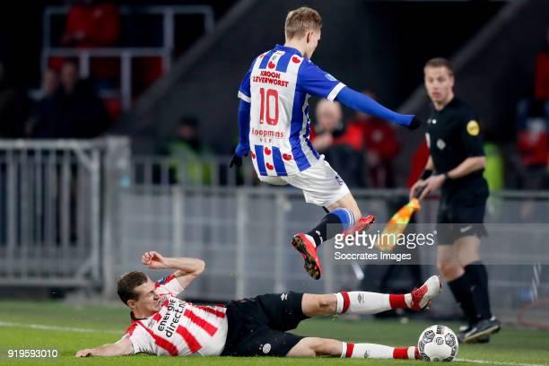 Daniel Schwaab of PSV Martin Odegaard of SC Heerenveen during the Dutch Eredivisie match between PSV v SC Heerenveen at the Philips Stadium on...