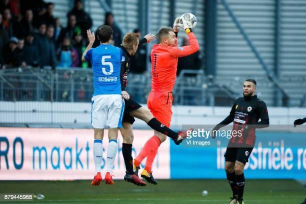 Daniel Schwaab of PSV Mike van Duinen of Excelsior goalkeeper Jeroen Zoet of PSV Mike van Duinen of Excelsior during the Dutch Eredivisie match...
