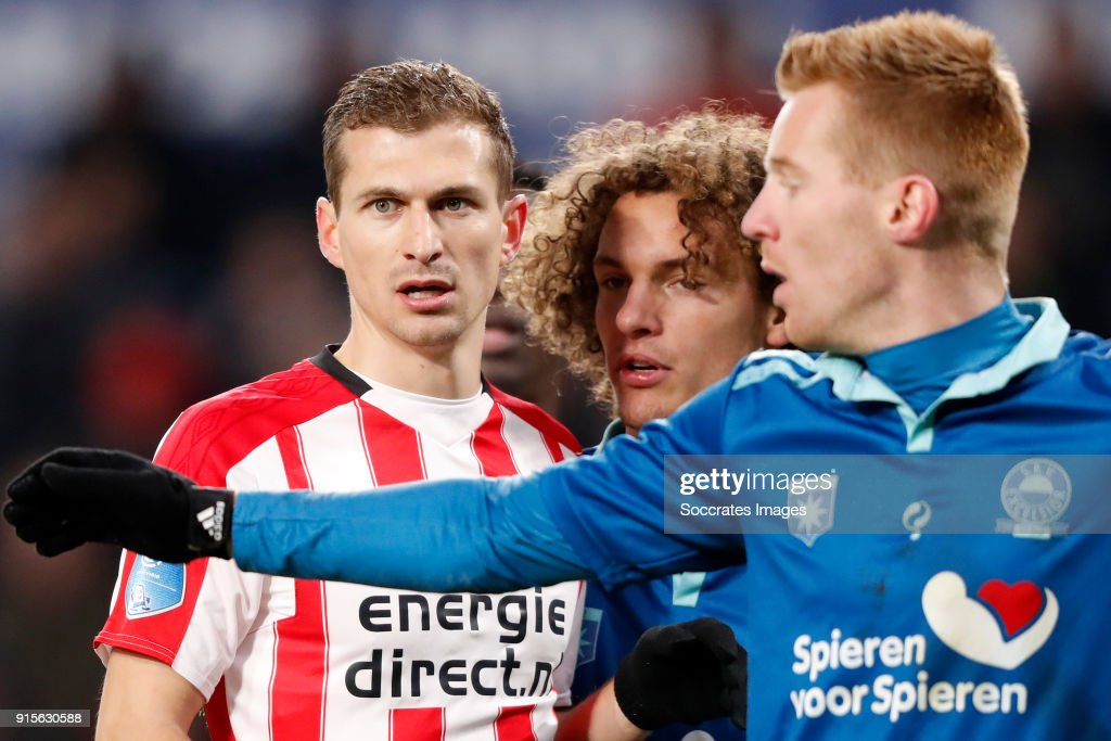 Daniel Schwaab of PSV, Wout Faes of Excelsior, Mike van Duinen of Excelsior during the Dutch Eredivisie match between PSV v Excelsior at the Philips Stadium on February 7, 2018 in Eindhoven Netherlands