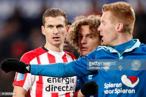Daniel Schwaab of PSV Wout Faes of Excelsior Mike van Duinen of Excelsior during the Dutch Eredivisie match between PSV v Excelsior at the Philips...