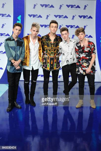 Daniel Seavey Corbyn Benson Jonah Marais Zach Herron and Jack Avery of Why Don't We attends the 2017 MTV Video Music Awards at The Forum on August 27...