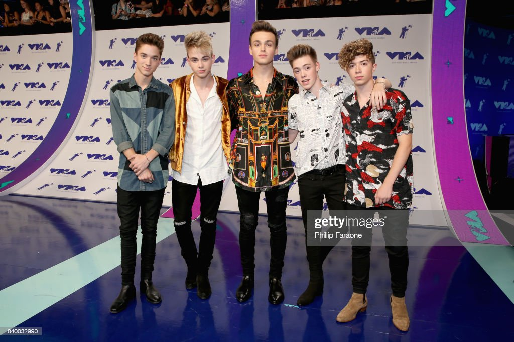 Daniel Seavey, Corbyn Benson, Jonah Marais, Zach Herron and Jack Avery of Why Don't We attend the 2017 MTV Video Music Awards at The Forum on August 27, 2017 in Inglewood, California.