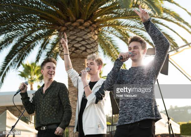 Daniel Seavey Corbyn Besson and Jonah Marais of Why Don't We visit 'Extra' at Universal Studios Hollywood on November 14 2017 in Universal City...