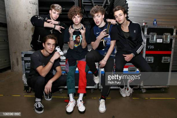 Daniel Seavey Corbyn Besson Jack Avery Zach Herron and Jonah Marais of Why Don't We attend 1061 KISS FM's Jingle Ball 2018 at American Airlines...