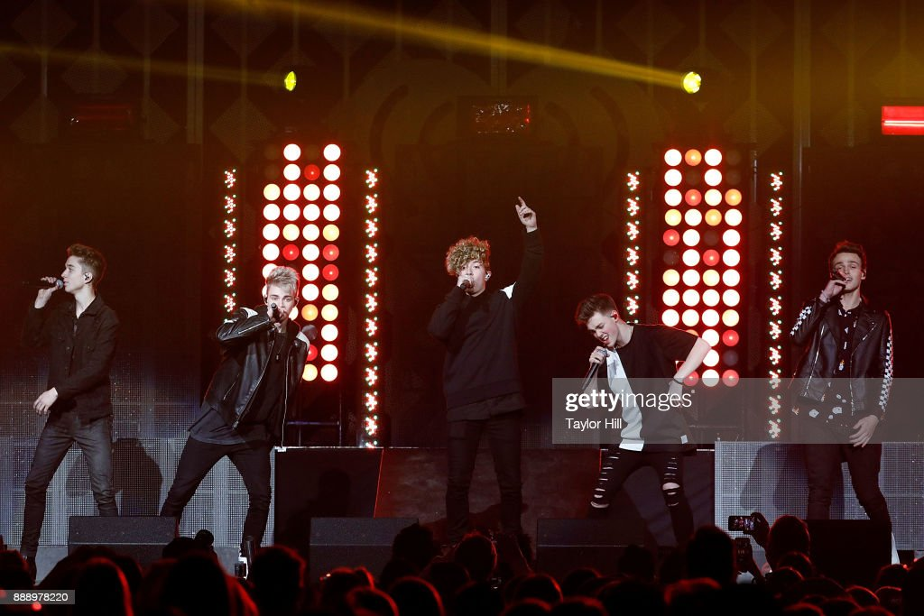 Daniel Seavey, Corbyn Besson, Jack Avery, Zach Herron and Jonah Marais of Why Don't We perform during the 2017 Z100 Jingle Ball at Madison Square Garden on December 8, 2017 in New York City.