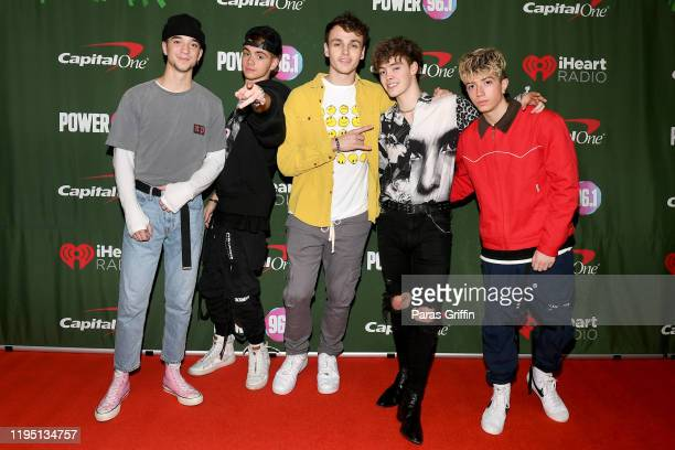 Daniel Seavey Corbyn Besson Jonah Marais Zach Herron and Jack Avery of Why Don't We attend the Power 961's Jingle Ball 2019 Press Room on December 20...