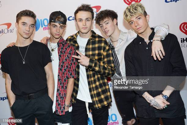 Daniel Seavey Corbyn Besson Jonah Marais Zach Herron and Jack Avery of Why Don't We attend Y100's Jingle Ball 2019 Presented by Capital One at BBT...