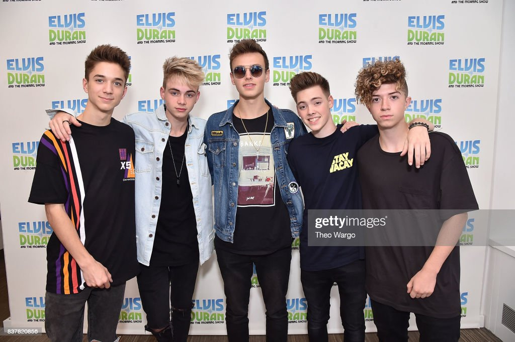 Daniel Seavey, Corbyn Besson, Jonah Marais, Zach Herron and Jack Avery of Why Don't We Visit 'The Elvis Duran Z100 Morning Show' at Z100 Studio on August 23, 2017 in New York City.