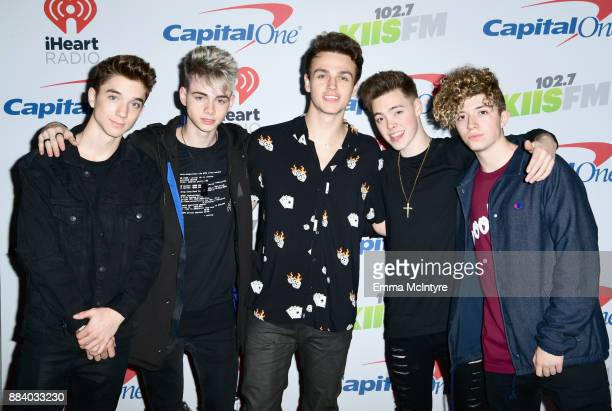 Daniel Seavey Corbyn Besson Jonah Marais Zach Herron and Jack Avery of Why Don't We pose in the press room during 1027 KIIS FM's Jingle Ball 2017...