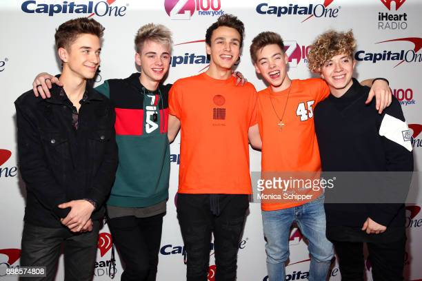 Daniel Seavey Corbyn Besson Jonah Marais Zach Herron and Jack Avery of Why Don't We attend the Z100's Jingle Ball 2017 press room on December 8 2017...