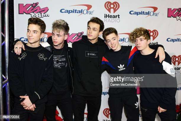 Daniel Seavey Corbyn Besson Jonah Marais Zach Herron and Jack Avery of Why Don't We attend the KISS 108's Jingle Ball 2017 presented by Capital One...