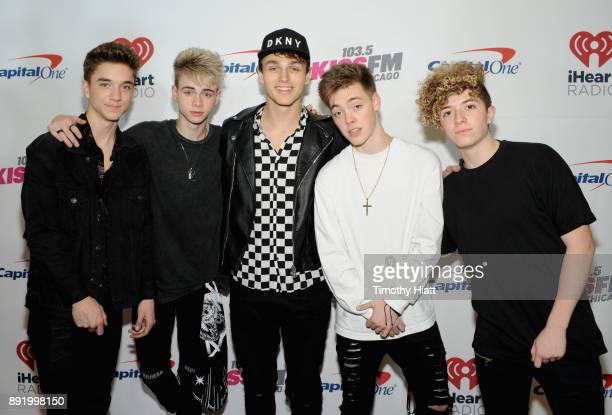 Daniel Seavey Corbyn Besson Jonah Marais Zach Herron and Jack Avery of Why Don't We attends 1035 KISS FM's Jingle Ball 2017 at Allstate Arena on...
