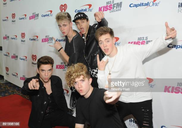 Daniel Seavey Corbyn Besson Jonah Marais Zach Herron and Jack Avery of Why Don't We attend 1035 KISS FM's Jingle Ball 2017 at Allstate Arena on...
