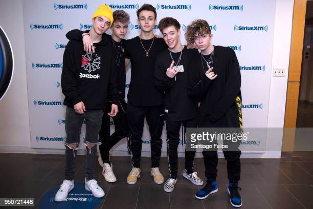 Daniel Seavey Corbyn Besson Jonah Marais Zach Herron and Jack Avery of 'Why Don't We' visit at SiriusXM Studios on April 24 2018 in New York City