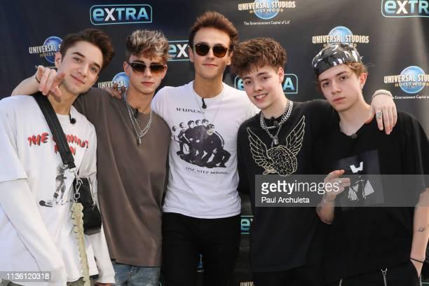 Daniel Seavey Corbyn Besson Jonah Marais Zach Herron Jack Avery of the BoyBand 'Why Don't We' visit Extra at Universal Studios Hollywood on March 15...