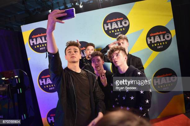 Daniel Seavey Corbyn Besson Jonah Marais Zach Herron Jack Avery of Why Don't We pose backstage at the 2017 Nickelodeon HALO Awards at Pier 36 on...