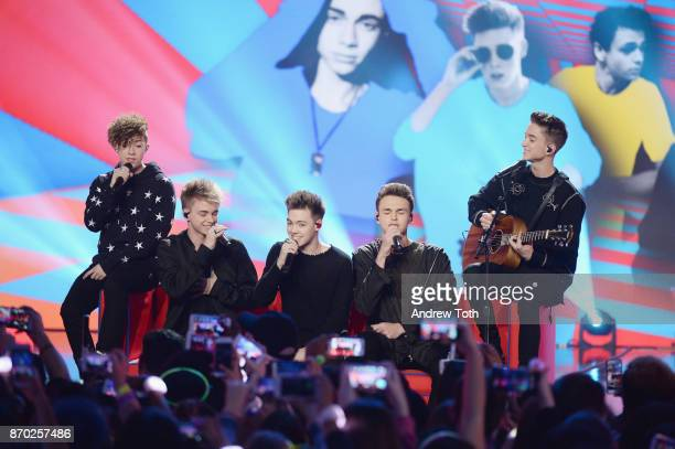 Daniel Seavey Corbyn Besson Jonah Marais Zach Herron Jack Avery of Why Don't We perform on stage at the 2017 Nickelodeon HALO Awards at Pier 36 on...